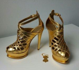 goldene Sandaletten aus Leder von Anna Dello Russo, 36