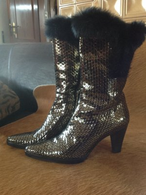 Short Boots black-gold-colored leather