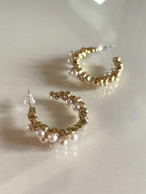 Goldene Strass Perlen Kreolen Ohrstecker Ohrringe