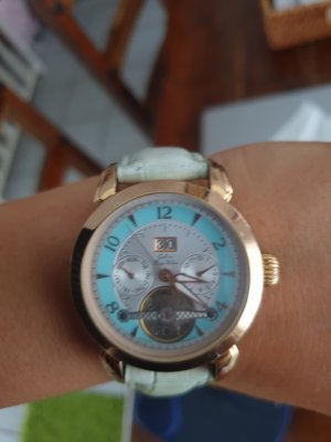 Graf von Monte Wehro Montre avec bracelet en cuir doré-bleu clair