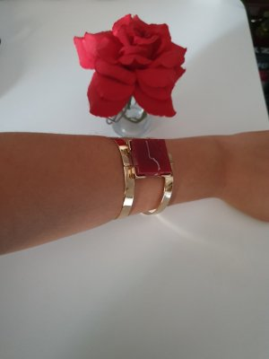 Bangle goud-donkerrood