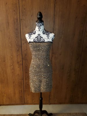 SILK Mode Vestido strapless negro-color oro