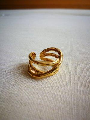 Goldener Ring in Wickeloptik in Sterling S925