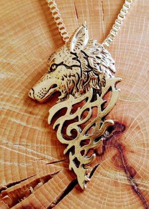 Goldener Wolf's Anhänger mit edler Halskette
