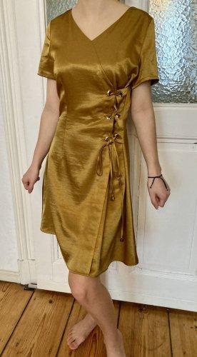 Yumi Sukienka z krótkim rękawem camel-złoto Poliester