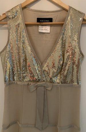 Nicowa Sequin Dress sand brown silk