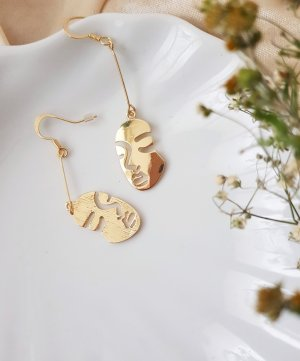 Orecchino a pendente bronzo-oro