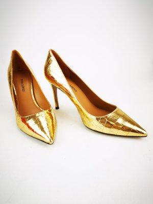 goldfarbene Kroko-Pumps von Pura Lopez