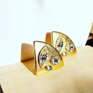 Boucles d'oreille en or doré-bleu clair