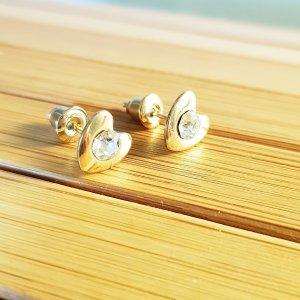 Goldfarbene Ohrringe Herz Ohrstecker mit Zirkonia,  8mm