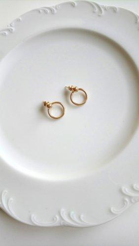 goldfarbene Ohrringe Kreis mit Kugel