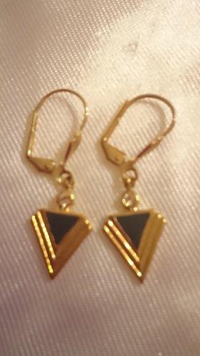 Goldfarbene Ohrringe schwarz emailliert .