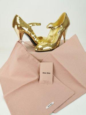 Goldfarbene Pailletten High Heels von Miu Miu