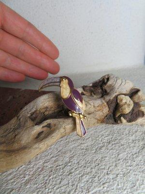 Goldfarbene Vintage Tukan Brosche - Lila Perlmutt Emaille Brosche - Vogel Brosche