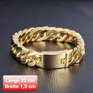 Goldfarbener Chirurgenstahl Armband (1,5 cm Breite/ 22 cm Länge) (NEU)