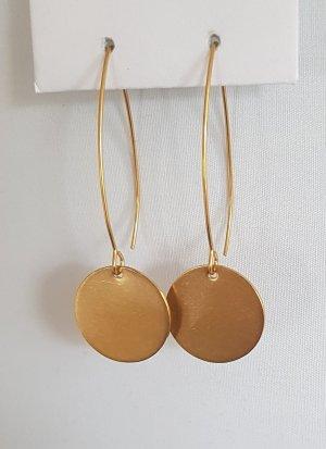 Goldfarbener, langer Ohrhaken mit Plättchen-Anhänger (Handgemacht)