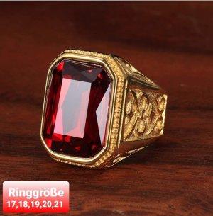 Goldfarbener Ring aus Chirurgenstahl mit rotem Cz