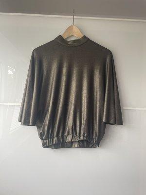Glanzende blouse oker-groen-grijs