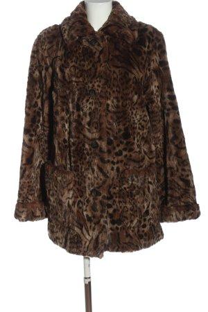 Goldix Manteau en fausse fourrure brun imprimé allover style extravagant