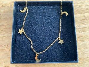 Goldkette mit Mond und Sternen