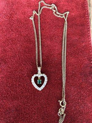 Goldkette mit Smaragd Herz Anhänger