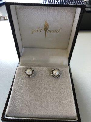 Goldmaid Ohrstecker 375 Weißgold 2 Perlen 40 Brill.018ct.NEU! mit Zertifikat UVP 599