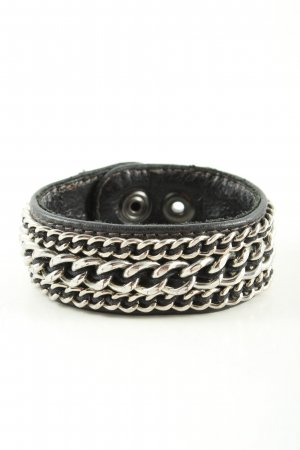 Goldmarie Leather Bracelet black-silver-colored casual look