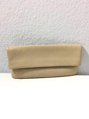 Goldpfeil Clutch mit Echtheits-Zertifikat echt Leder sandbeige Trendfarbe Vanilla Custard Vintage