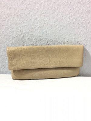 Goldpfeil Clutch mit Echtheits-Zertifikat echt Leder sandbeige Vintage