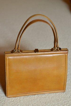 GOLDPFEIL Vintage Bügeltasche Henkeltsche Leder Handtasche Totebag Braun