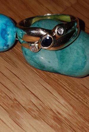 Juwelier Złoty pierścionek złoto-ciemnoniebieski