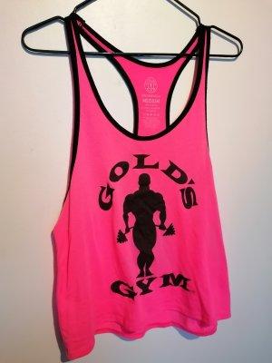Gold's Gym Top deportivo sin mangas negro-rosa neón