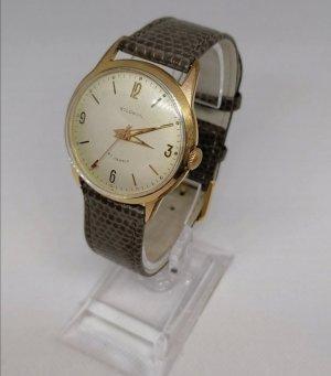 Horloge met lederen riempje goud