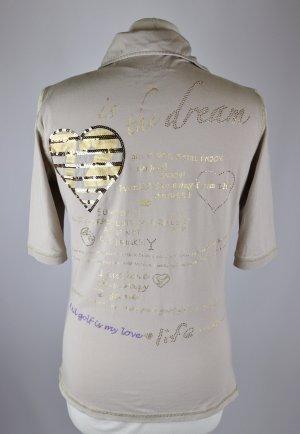Golf Polo Sport Shirt Größe M 38 Schrift Stickerei Sportshirt Top Beige Goldfarben Paillietten Nude