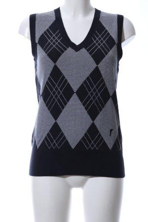 Golfino Feinstrickpullunder blau-weiß grafisches Muster Business-Look