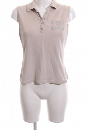 Golfino Polo Top nude-silver-colored printed lettering casual look