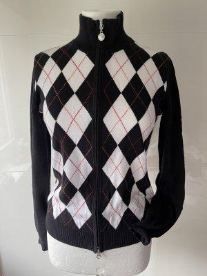 Golfino Strickjacke Golf Rautenmuster Baumwolle schwarz weiss