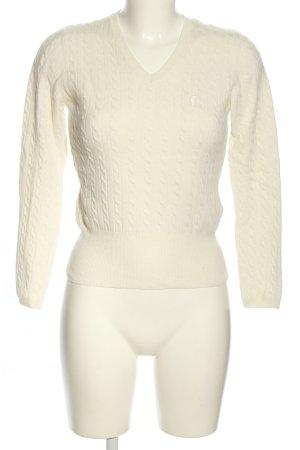 Golfino Warkoczowy sweter biały W stylu casual