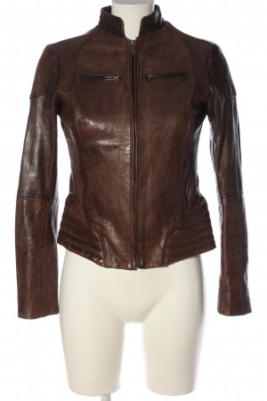 Goosecraft Faux Leather Jacket brown flecked casual look