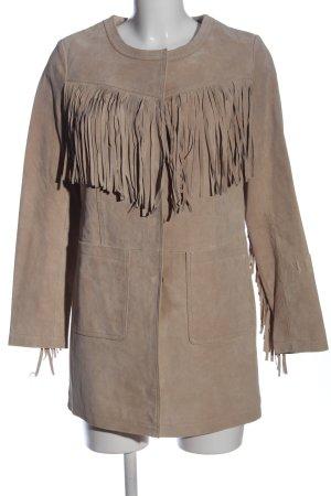 Goosecraft Cappotto in pelle marrone motivo grafico stile stravagante