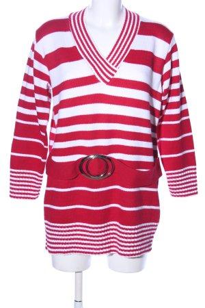 Gorgeous V-Ausschnitt-Pullover weiß-rot Streifenmuster Casual-Look