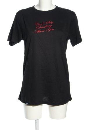 Gossengold T-Shirt schwarz-rot Schriftzug gedruckt Casual-Look