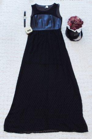 Gothic Chic | Schwarzes Maxikleid mit transparentem Netzstoff und Leder