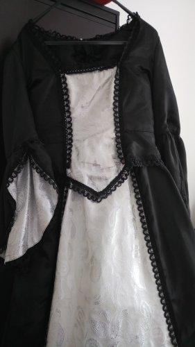 Gothic Satin Kleid, Mittelalterlich anmutendes Kleid mit Spitzenbesatz