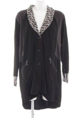 GOZZIP Lange Jacke schwarz-weiß abstraktes Muster extravaganter Stil