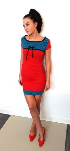 Pencil Dress red-petrol cotton