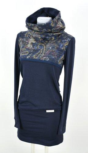 Robe crayon bleu foncé-brun pourpre coton