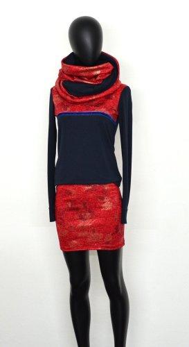 Gr. 36, Set Kleid und Wende Loop, Navyblau, Rot, Ungetragen.