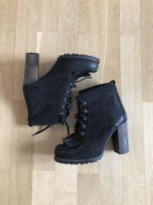 Gr.38/39 Leder boots Schnürstiefelette schwarz
