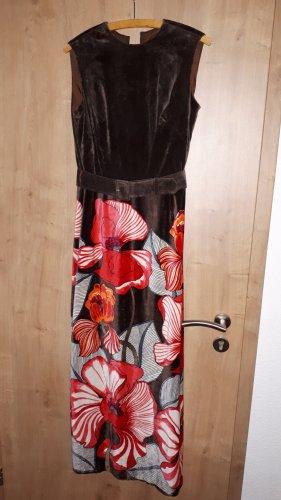 Gr. 38/40 True Vintage Samtkleid 1970er Jobi Braun Rot Maxikleid Etuikleid Blumen floral
